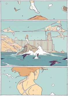 """turndecassette: """"at it again with the flying girls (ch. Comic Kunst, Comic Art, Art And Illustration, Pretty Art, Cute Art, Storyboard, Comic Layout, Graphic Novel Art, Ligne Claire"""