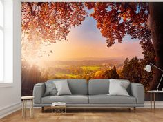 Colors + beautiful landscape = recipe for the perfect wall mural #wallpaper #wallmural #landscape #homedecor #bimago #landscapes #walldecoration  #wallmurals #wallpapers