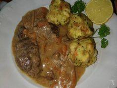 Vadas marhaszelet zsemlegombóccal recept lépés 15 foto Beef, Food, Kochen, Meal, Essen, Hoods, Ox, Meals, Eten