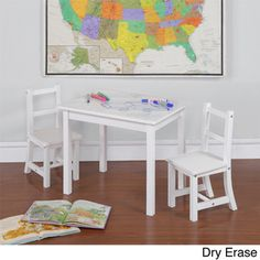 @Overstock - 3 piece Children's Table and Chair Set with Reversible Top - Stimulate your child's creative side with this versatile Kiddy Table and Chair Set. Featuring your choice of a dry-erase or chalk board top, your child can easily showcase their latest creation right on the table top!  http://www.overstock.com/Home-Garden/3-piece-Childrens-Table-and-Chair-Set-with-Reversible-Top/9106237/product.html?CID=214117 $58.99