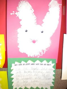 Adventures of First Grade: Why do Easter bunnies have such big ears???  Writing activity and craft. Make bunny with cotton ball dipped in white paint.