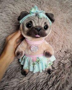 """Купить """"Арлетт"""" щенок мопса - бежевый, искусственный мех, авторская игрушка, моер, меx"""