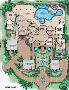 Love the private garden area for the master suite. Florida Style House Plans - 9870 Square Foot Home , 2 Story, 6 Bedroom and 1 Bath, 6 Garage Stalls by Monster House Plans - Plan The Plan, How To Plan, Plan Plan, Dream House Plans, House Floor Plans, My Dream Home, Mansion Floor Plans, Dream Houses, Large House Plans