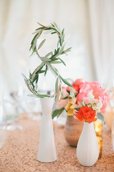 Vine Table Numbers with Vibrant Centerpieces | onelove photography | Bold Colors and Modern Sparkle in Palm Springs for a Glam Desert Wedding