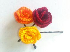 Crochet bobby pins  yellow orange burgundyset of 3 by SilviStudio, $10.00