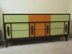 Love this ... I have my eye on a record console and I am looking for ideas to either paint or refinish.. would love something retro but also funky. Not the usual brown of the 60's
