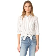 Madewell Long Sleeve Tie Front Shirt (5,335 INR) ❤ liked on Polyvore featuring tops, long sleeve cotton shirts, cotton shirts, fold long sleeve shirt, striped long sleeve shirt and collared shirt