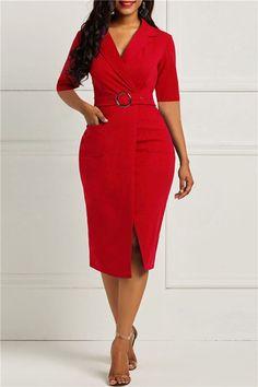 Half Sleeve V Neck Mid-Calf Office Belt Lady Dresses. Elegant Dresses, Cute Dresses, Beautiful Dresses, Dresses Dresses, Dresses Online, Latest African Fashion Dresses, Women's Fashion Dresses, Moda Afro, Sheath Dress
