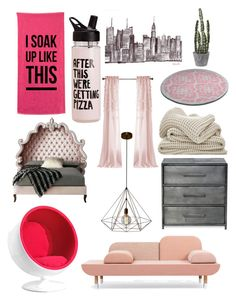 """""""Pink girlie touch"""" by elliemack19 ❤ liked on Polyvore featuring interior, interiors, interior design, home, home decor, interior decorating, Zuo and Haute House"""