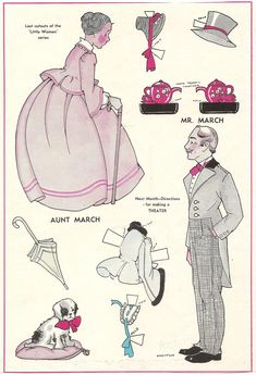 """Aunt March and Mr. March paper dolls, the last cutouts of the """"Little Women"""" series by Dorothy Wagstaff that appeared in Wee Wisdom magazine 1930S"""