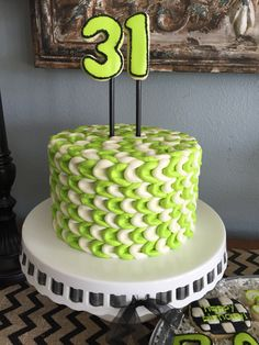 Neon green, white and black birthday cake
