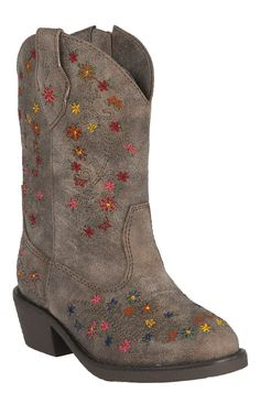 Roper Toddler Brown w/ Multicolor Floral Embroidery Western Fashion Boots