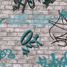 05601-30 - Grafitti - Brick - Teal / Grey - Urban - Teenage - Wallpaper