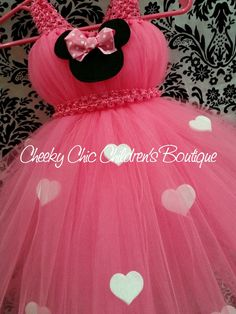 Pink Minnie Mouse inspired tutu gown/dress