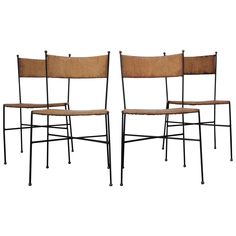 Set of Four Iron and Rush Chairs by Milo Baughman for Murray Furniture | From a unique collection of antique and modern dining room chairs at https://www.1stdibs.com/furniture/seating/dining-room-chairs/