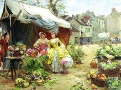 Louis Marie de Schryver Woman buying flowers at a market