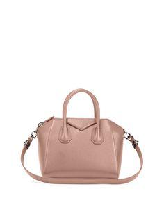 Givenchy Antigona Small Metallic Leather Satchel Bag, Champagne