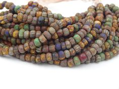 Czech Glass 6/0 Aged Striped and Red Seed Bead Mix  by BeadsParade