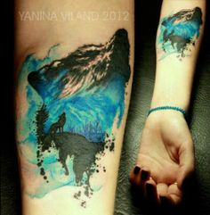 Wish I could get this tattoo, too bad I dont like copying people and take pride in being original! Its soo cool. Love the detail-work. #wolftattoo #perfect #colors