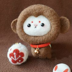 Design: Needle felted Animal Cute monkey In Stock: 2-4 days for processing Include: Only The Needle Felting monkey Color: Brown & White Material: Felt Wool (100% merino wool), Plastic Eyes, Love Size: 6cm(H) x...