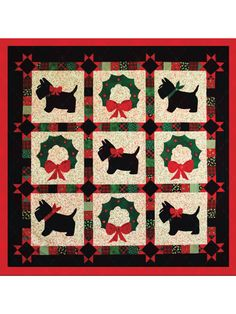 Pieced Lap Quilt & Throw Patterns - A Scottie Christmas Greeting Quilt Pattern Christmas Blocks, Christmas Quilt Patterns, Christmas Crafts, Christmas Quilting, Bed Quilt Patterns, Quilted Throw Blanket, Colorful Quilts, Animal Quilts, Pattern Blocks