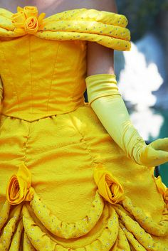 """Belle <3 I like this dress. A lot of people don't and love the new one. While the new one is pretty, it doesn't look as """"Belle"""", the animated version. This one looks more """"cartooney"""" and that's what makes the characters so unique. How Disney designs their costumes, has custom fabrics and the look is very larger than life."""