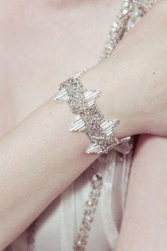 Delores - Deco beaded Great Gatsby/Downton vintage silver bridal bracelet wedding cuff via Etsy