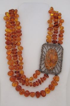 3 Strand Baltic AMBER Necklace with Antique by MOUNTAINPOODLE, $210.00