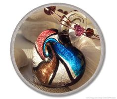 ORCHID LAMPWORK HEART necklace  glass heart by CharmeParisien