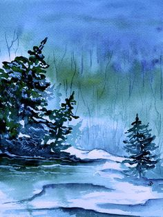 Brenda Owen - Blue Winter - watercolor - http://fineartamerica.com/featured/blue-winter-brenda-owen.html