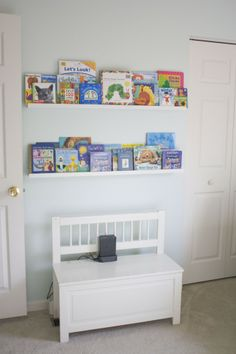 Ledges serve double duty as bookshelves and wall art above changing table? Organizing Kids Books, Book Organization, Book Storage, Book Wall, Project Nursery, Little Girl Rooms, Nursery Inspiration, Kid Spaces, Cool Baby Stuff