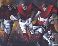 ERNIE BARNES AFRICAN AMERICAN FOOTBALL COLTS PAINTING