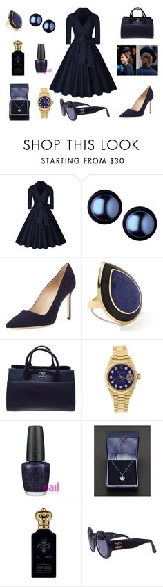 """When black meet blue in a harmony."" by ameliayanita on Polyvore featuring Links of London, Manolo Blahnik, Ippolita, Chanel, Rolex, OPI and Clive Christian"