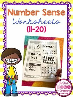 These number worksheets help students show how numbers can be represented in multiple ways. Included are worksheets for the numbers 11-20. Students will display number sense by filling in the boxes with tally marks, dice, drawings, ten frames, base 10 blocks, numbers, and number words.