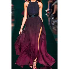 Elegant Halter Neck Sleeveless Ombre Color High Slit Women's Maxi Dress