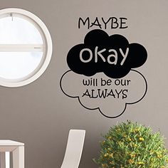 Maybe Okay Will Be Our Always Wall Decal Quote Vinyl Sticker- The Fault in Our Stars Wall Quotes Vinyl Lettering Art Home Decor Q043 #walldecals #lettering #vinylstickers #quotes http://www.amazon.com/dp/B00WISRU0A/ref=cm_sw_r_pi_dp_vkHtvb1ZJ5KT9