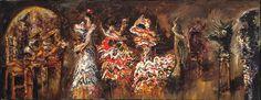 Fantasía flamenca 1995 Óleo sobre tela 50 x 130 cm