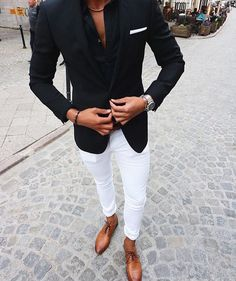 Custom Made Black Suits for Business Man Outfits Wedding Tuxedo White Pants Groom Wear Costume Homme Two Piece Slim Fit Terno Masculino Terno Casual, Traje Casual, Blazer Outfits Men, Casual Outfits, Classy Outfits, Men's Outfits, Mens Fashion Suits, Mens Suits, Mode Swag