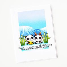 Stamps: Christmas Panda Plushies, Sentimental Christmas / Stencils: Freshly Cut Christmas Panda, Christmas Ideas, Christmas Stencils, Copic Sketch Markers, White Gel Pen, Foam Sheets, Ink Stamps, Babies First Christmas, Ink Pads