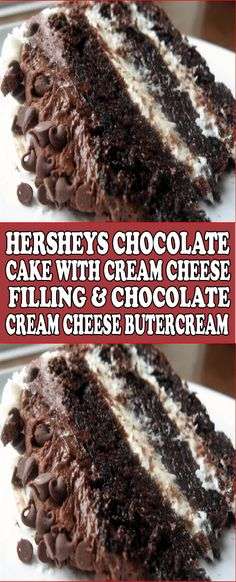 Hersheys Chocolate Cake with Cream Cheese Filling & Chocolate Cream Cheese Butte. - Hersheys Chocolate Cake with Cream Cheese Filling & Chocolate Cream Cheese Buttercream Hershey Chocolate Cakes, Hersheys, Best Chocolate Cake, Chocolate Recipes, Hershey Cake, Chocolate Filling For Cake, Mini Desserts, Just Desserts, Delicious Desserts