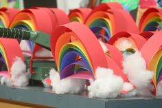 Craft with Noah's Ark. God gave us the rainbow as a promise. Look it up in the Old Testament..Genesis. 3-D Paper Rainbows - added a string from the top and strung a sun and raindrops from the bottom