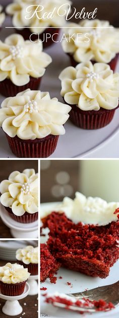 Red Velvet Cupcakes. The cute flower piping is quite the icing on the (cup)cake.