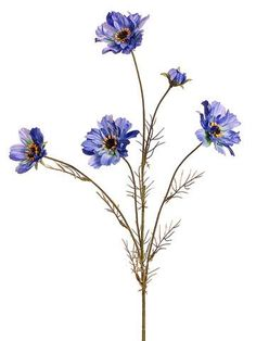 Pretty blue silk cosmos flowers are perfect to fill your hassle-free artificial wildflower wedding bouquets or DIY centerpieces. Save money at Afloral.com.