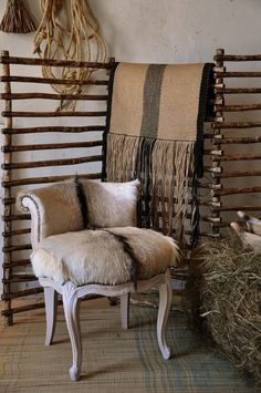 Skins can be used for upholstering chairs and rustic towel rails or screens constructed from long wooden sticks or thin branches