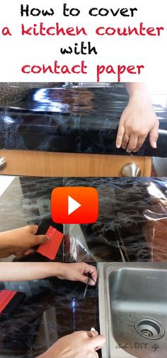 DIY Contact paper countertop tutorial for Kitchen   Faux marble   Kitchen makeovers  before and afters   rental apartment projects