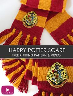 How to Knit a Harry Potter Gryffindor Scarf with Studio Knit   Free Knitting Pattern #StudioKnit