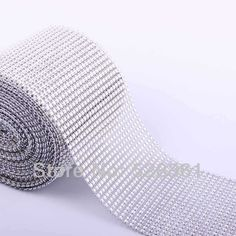 """10Yard (30 feet) 4.6"""" wide Silver Color Diamond Mesh Wrap Roll Rhinestone Crystal Looking Ribbon Trim Wedding Party Decoration US $17.99"""