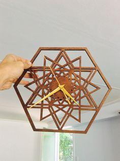 Handmade pattern and laser cut wooden clock. Find us on insta @cactuscutsclocks