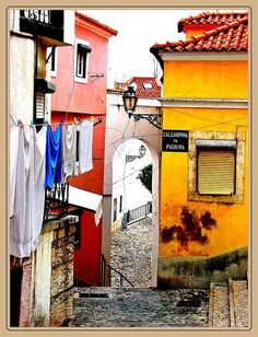 Alfama, Portugal ( a district of Lisbon) Oh The Places You'll Go, Great Places, Places To Visit, Amazing Places, Visit Portugal, Spain And Portugal, Douro, Europe Destinations, Most Beautiful Cities