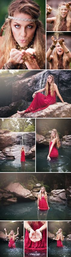Senior Picture Ideas for Girls | In Water, Waterfall | Boho